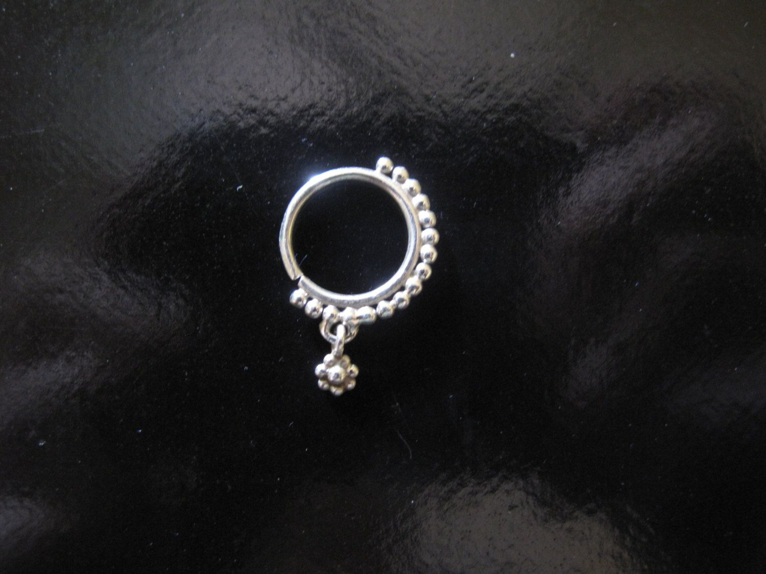Silver Nose Ring with Flower pendant or Silver Septum by RabariRajkumari on Etsy