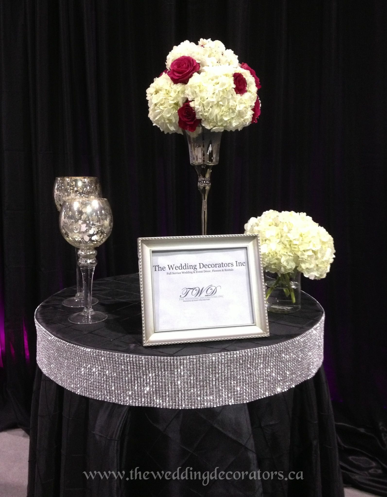 Black, Silver & Hot Pink Wedding Decor Bridal Show Booth