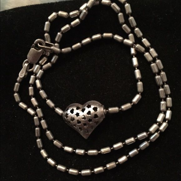 """Sterling silver 925 heart bead choker necklace Beautiful heart slider bead with cut out hearts and stars on a beaded chain. Measures 16"""" Jewelry Necklaces"""