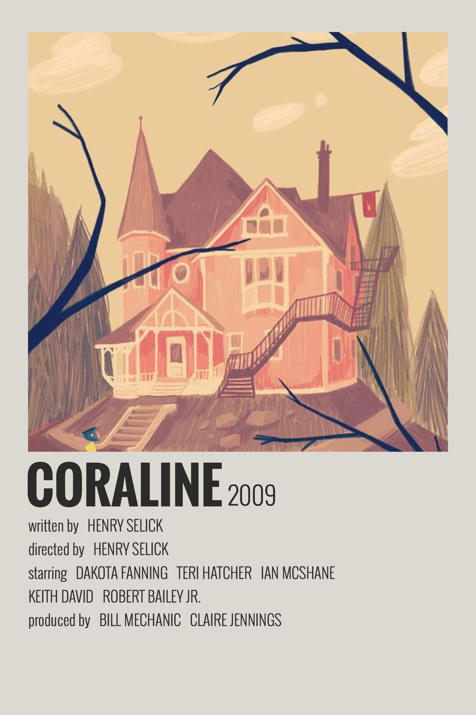 Alternative Minimalist Movie Polaroid Poster Coraline 2009 In 2020 Indie Movie Posters Film Poster Design Film Posters Vintage
