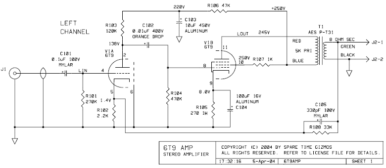 Tube Ended Individual 6t9 Amp Schematic