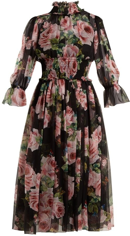 DOLCE & GABBANA Rose-print silk-chiffon dress