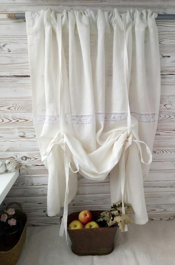 rustic curtains Kitchen curtains farmhouse curtains panels country curtains linen cafe curtains linen curtains panel