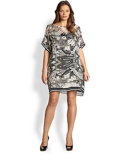 Fuzzi, Salon Z - Silk Fishnet-Print Dress - Saks.com #plussizedresses