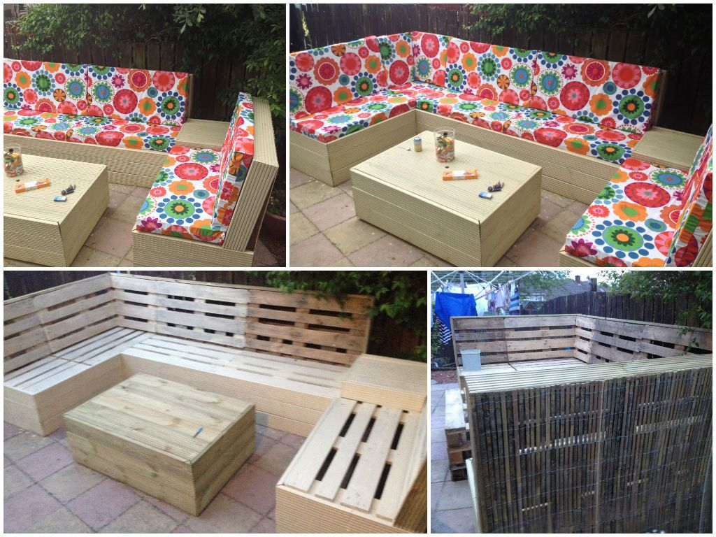 my pallet garden furniture made from about 22 euro pallets some decking and some bamboo - Garden Furniture Decking