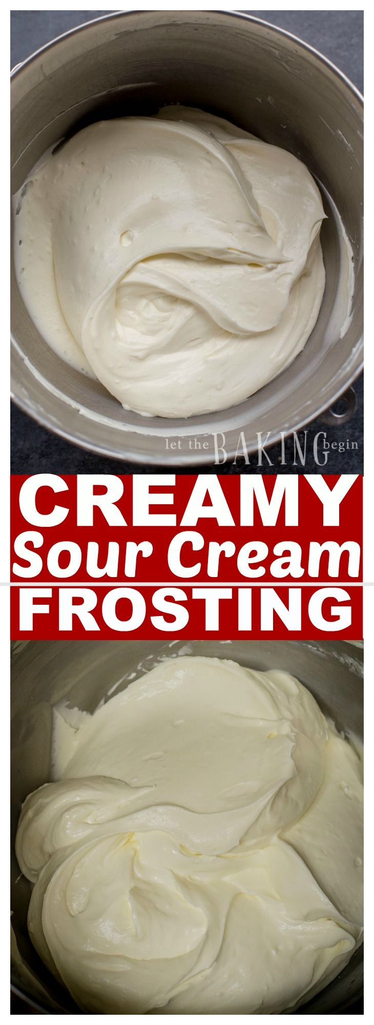 Creamy Sour Cream Frosting Is Tangy Creamy And All Around Delicious Frosting That Can Be Used To Sour Cream Frosting Sour Cream Recipes Sour Cream Cheesecake