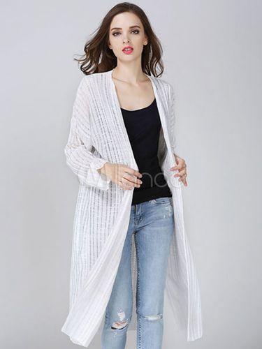 Clothing Shop Online - 955632 - White Cardigans V-Neck Split High ...