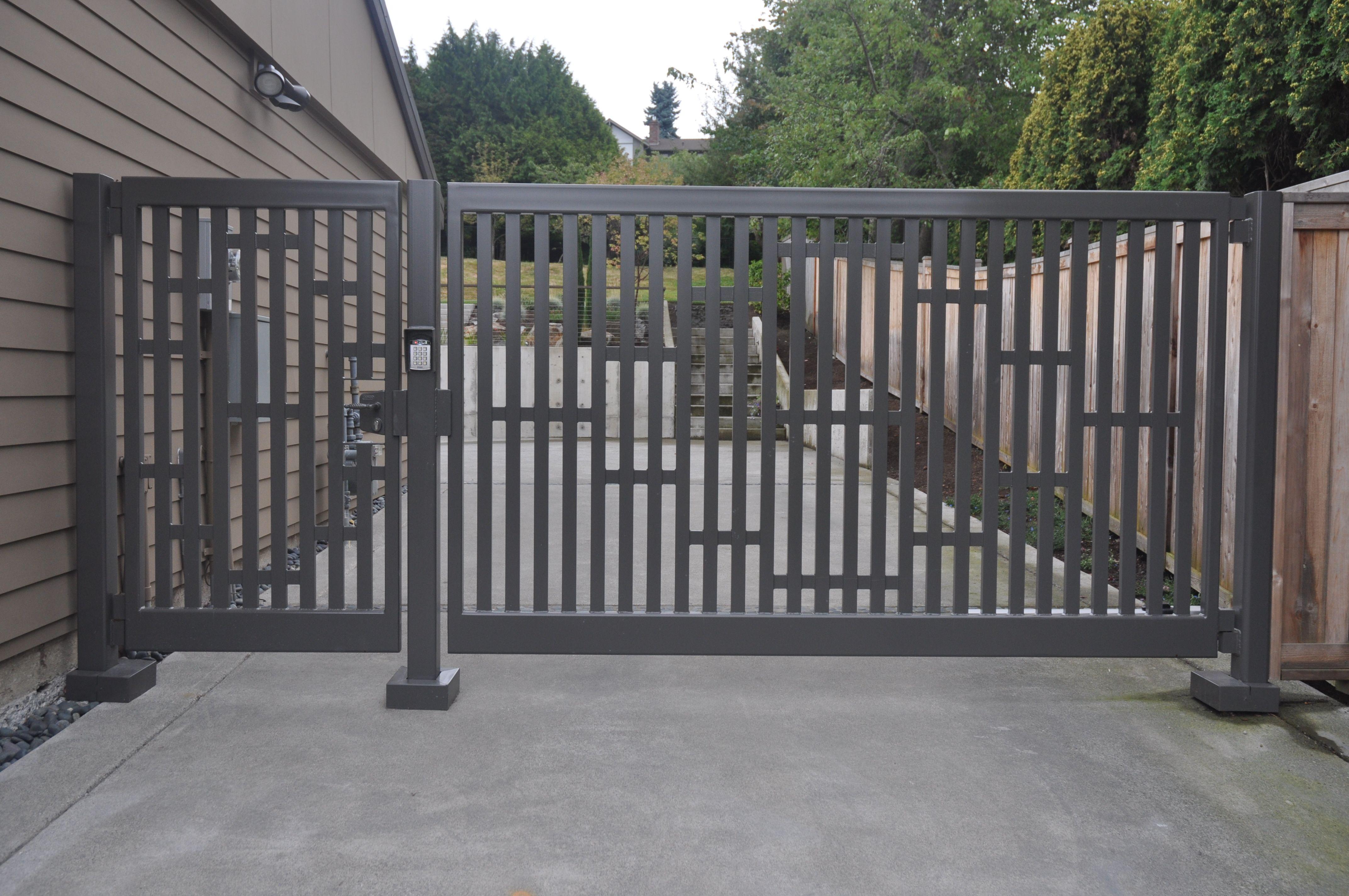 Single Swing Gate With Custom Design Elementatching