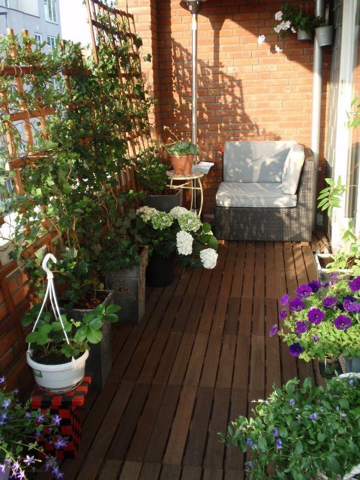 Balkon mit Sichtschutz – Spalier nach vorne, anstelle des Wa - Balkon Garten 100 #sichtschutzfürbalkon