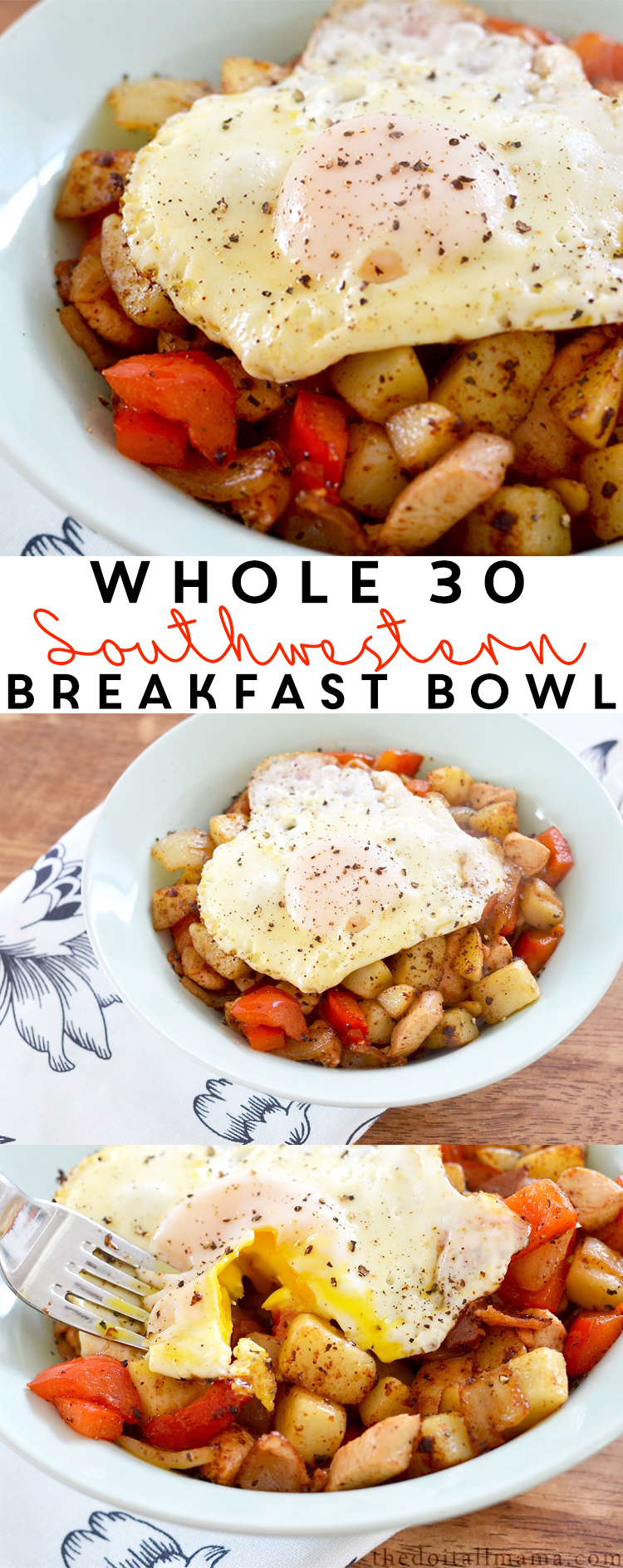 Healthy food doesn't have to be boring! Give this Whole 30 Friendly Southwestern Breakfast Bowl a try and start your day off with some kick.