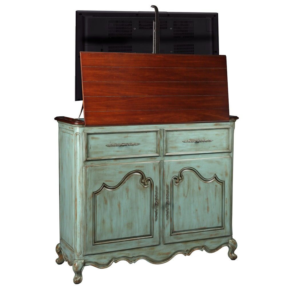 Belle weathered blue tv lift by