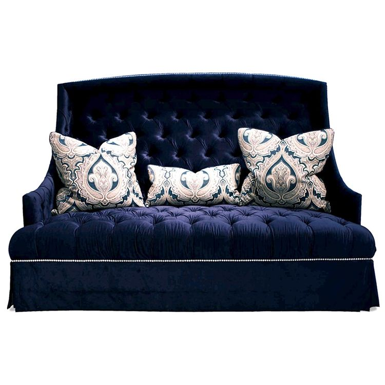 Deuce Navy Tufted Sofa | Navy blue sofa, Living room sofa ...
