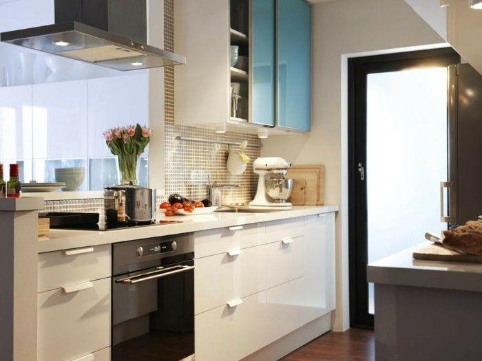 armarios azules en la cocina pequeña moderna Cocinas Pinterest - neue küche ikea