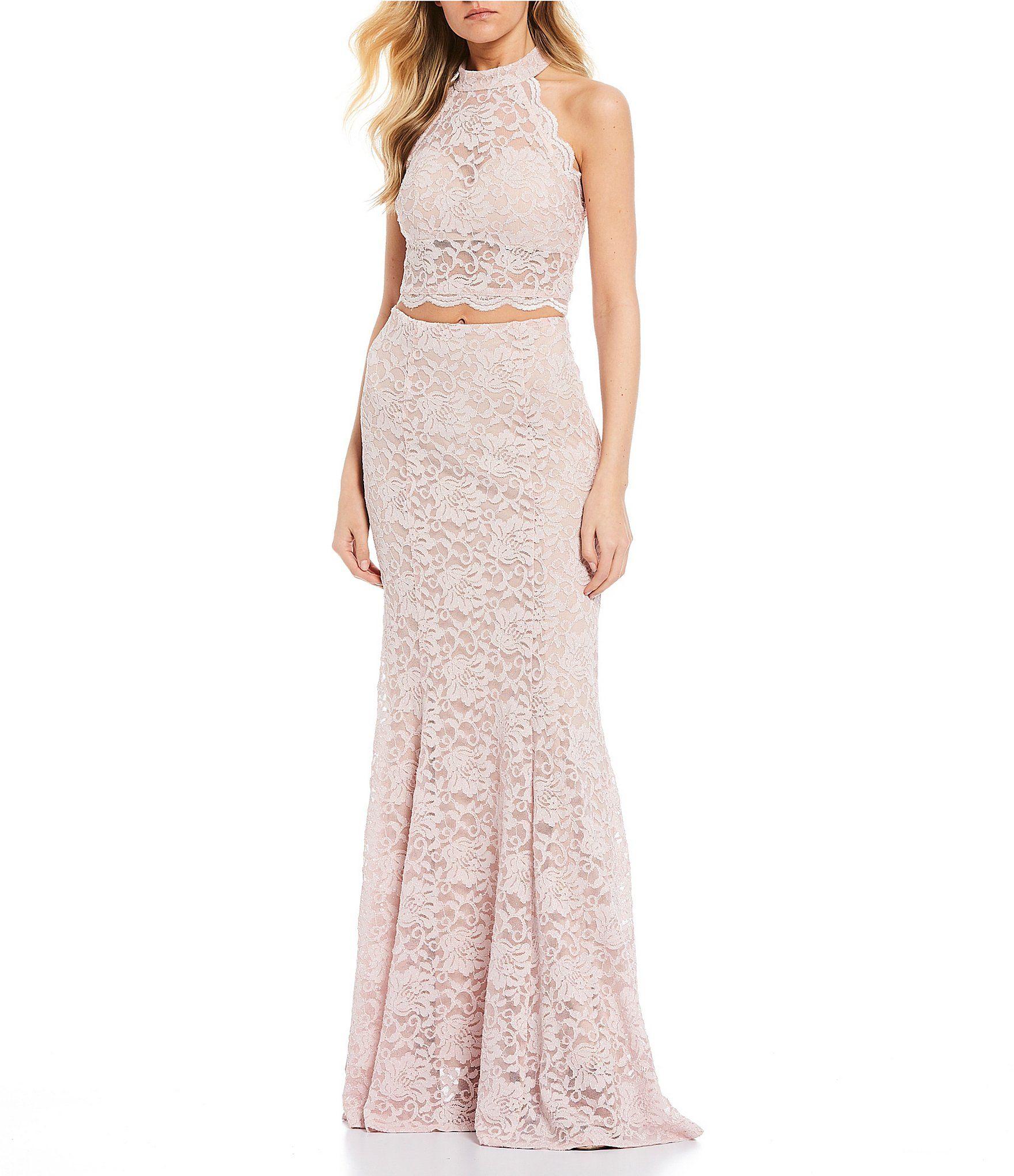 Sequin Hearts Mock Neck Glitter Lace Two Piece Long Dress Dillard S Two Piece Long Dress Long Dress Dresses [ 2040 x 1760 Pixel ]