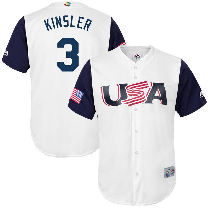 Men's Team USA Baseball Majestic #24 Andrew Miller White 2017 World Baseball Classic Stitched Replica Jersey