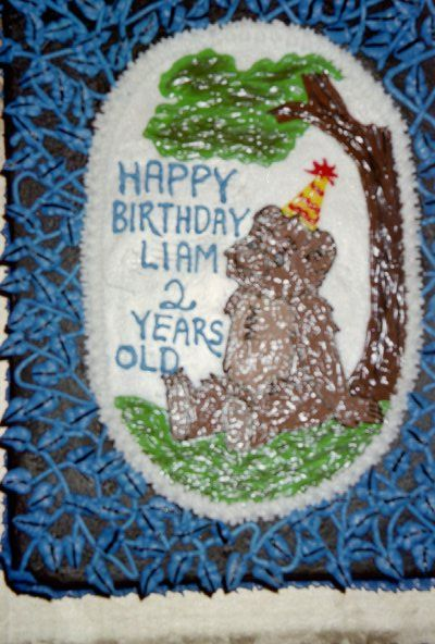 Little Bear birthday cake             1/4 sheet frosted in buttercream with buttercream vines.  Image drawn in icing gels.  Camera reflected the image, so not such a good picture.