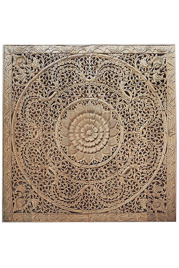 Lotus Carving Wall Art Bed Headboard Headboards for beds