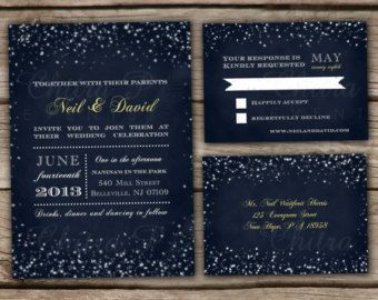 starry night wedding theme starry night wedding invitation r svp postcards printed or - Starry Night Wedding Invitations