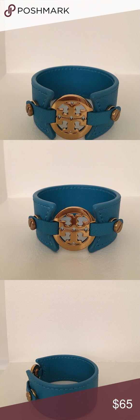 Tory Burch leather cuff NEW! Tory Burch blue leather cuff! New and flawless never worn! Tory Burch Jewelry Bracelets