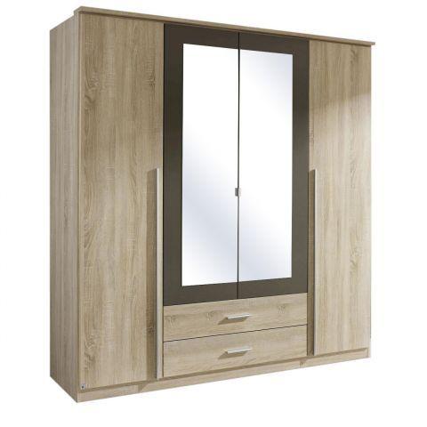 Krefeld 4 Door Mirrored Wardrobe Sonoma Oak Carcass u2013 Next Day Delivery Krefeld 4 Door Mirrored  sc 1 st  Pinterest & Krefeld 4 Door Mirrored Wardrobe Sonoma Oak Carcass | Mirrored ...