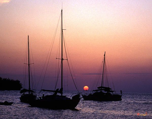 1984 Photograph, Sunset with boats anchored off Simonton Street, Key West, Florida © 1999.  Note the boat under sail silhouetted by the setting sun. The boat was sailing south as the sun sank to the horizon and they met at the perfect time for this picture to happen.