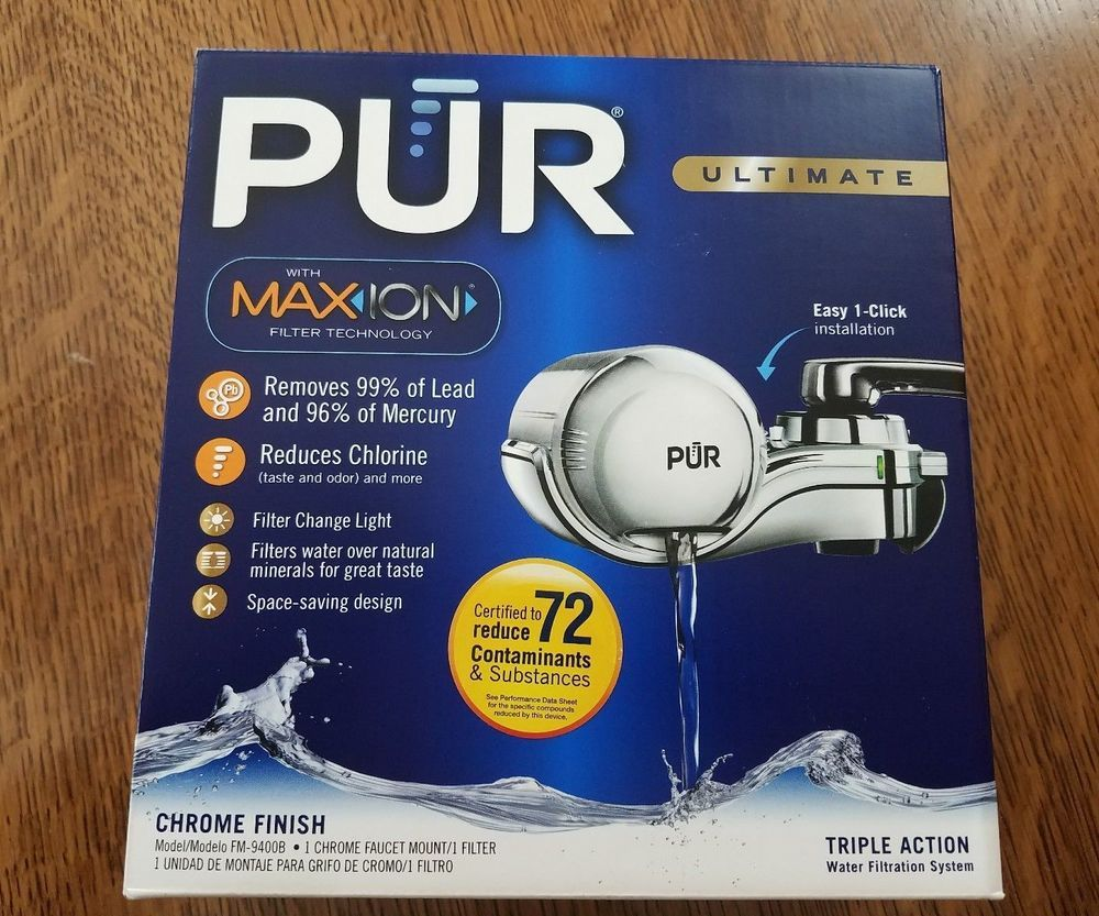 Pur 3-stage horizontal water filtration faucet mount chrome fm-9400b ...