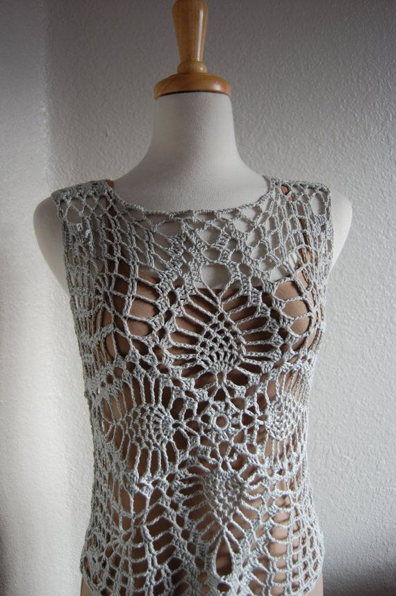 Crochet Pineapple Tank Top in silver bamboo/soy size small/medium ...