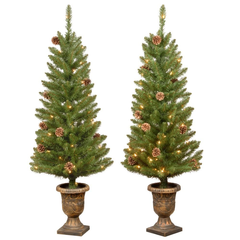 Home Accents Holiday 4 Ft Entrance Tree With Lights Set Of 2 Hmc7 310 40 2 The H Christmas Porch Decor Christmas Tree In Urn Outdoor Christmas Decorations
