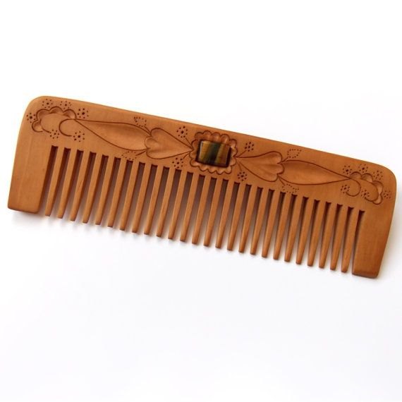 Wooden Hair Comb Wood Carving Personalized Womens Gifts Wide Teeth