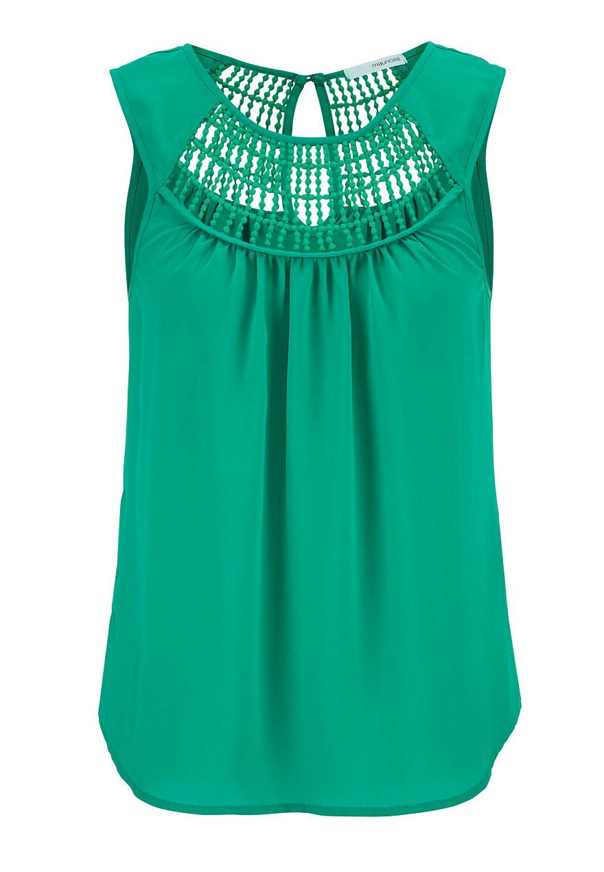 sleeveless top with crochet and keyhole back - maurices.com
