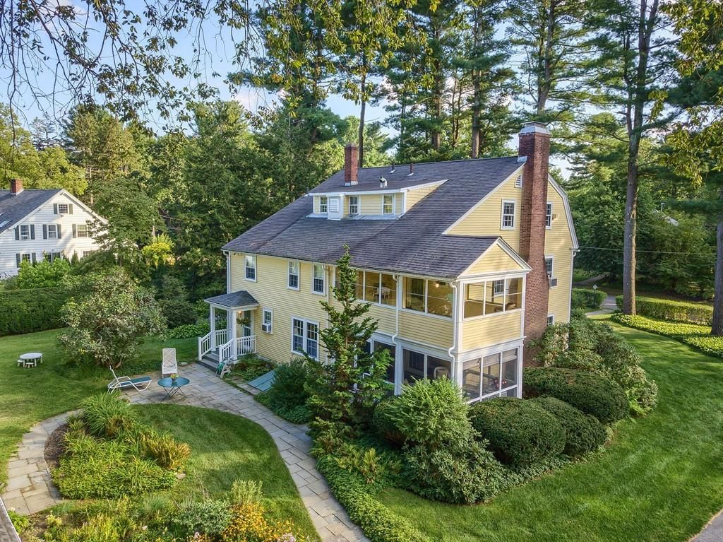Concord Gambrel colonial with six bedrooms, four fireplaces drops for $1 5M is part of Big bedroom With Fireplace - The house dating from 1914 also includes a screen porch and a big backyard