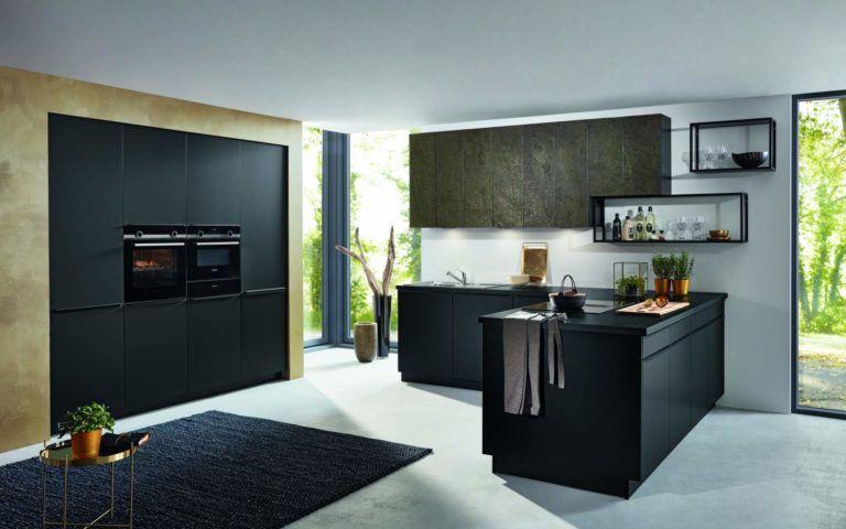Bauformat Küche Berlin schwarz seidenmatt Küchen