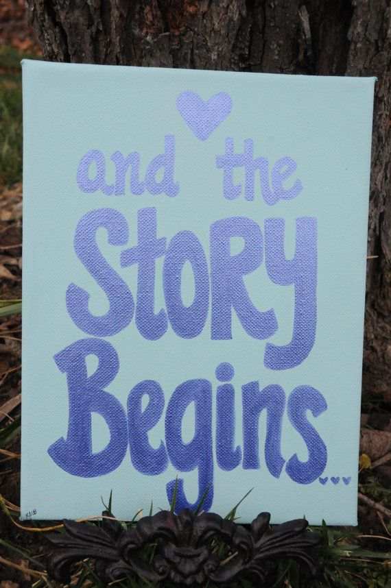 Wedding Decoration Canvas Painting And The Story Begins Blue Reception Sign Decor