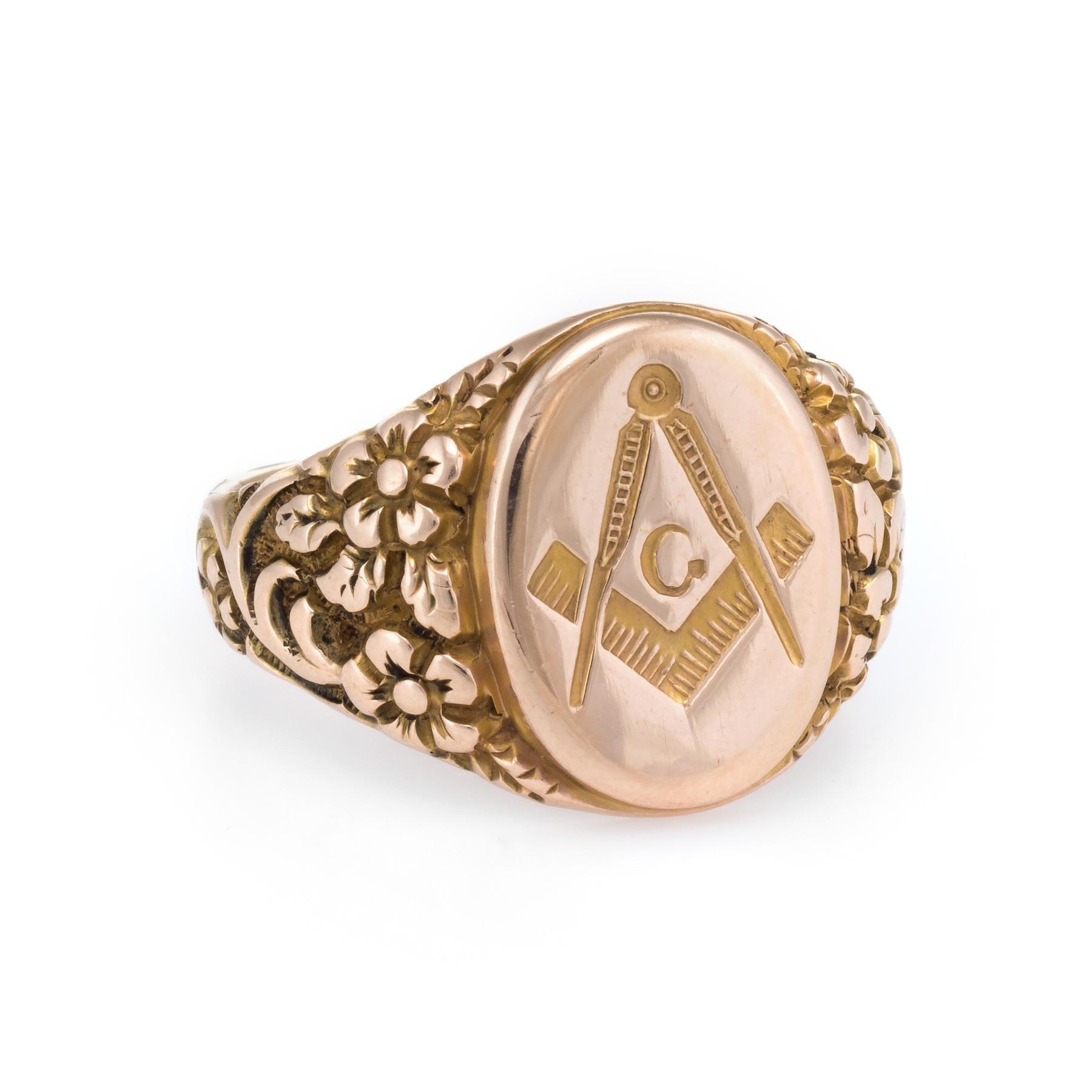 Masonic Lodge Mens Signet Ring Vintage 10 Karat Rose Gold Estate
