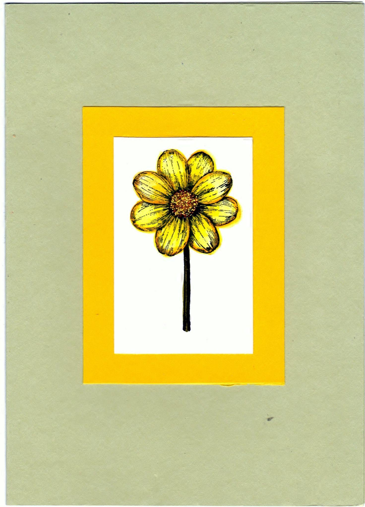 Sunflower inked handmade good greeting supply card clearance