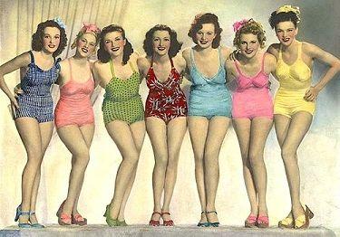 Ouderwets Badpak Dames.Meisjes In Ouderwetse Badpakken Bathers Vintage Badpakken Retro