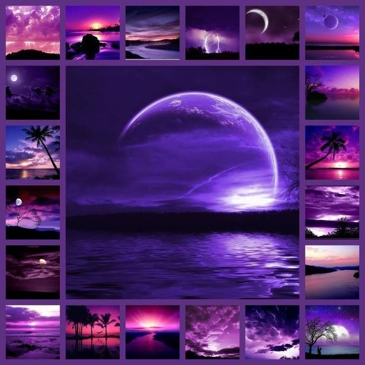 purple sunsets landscapes
