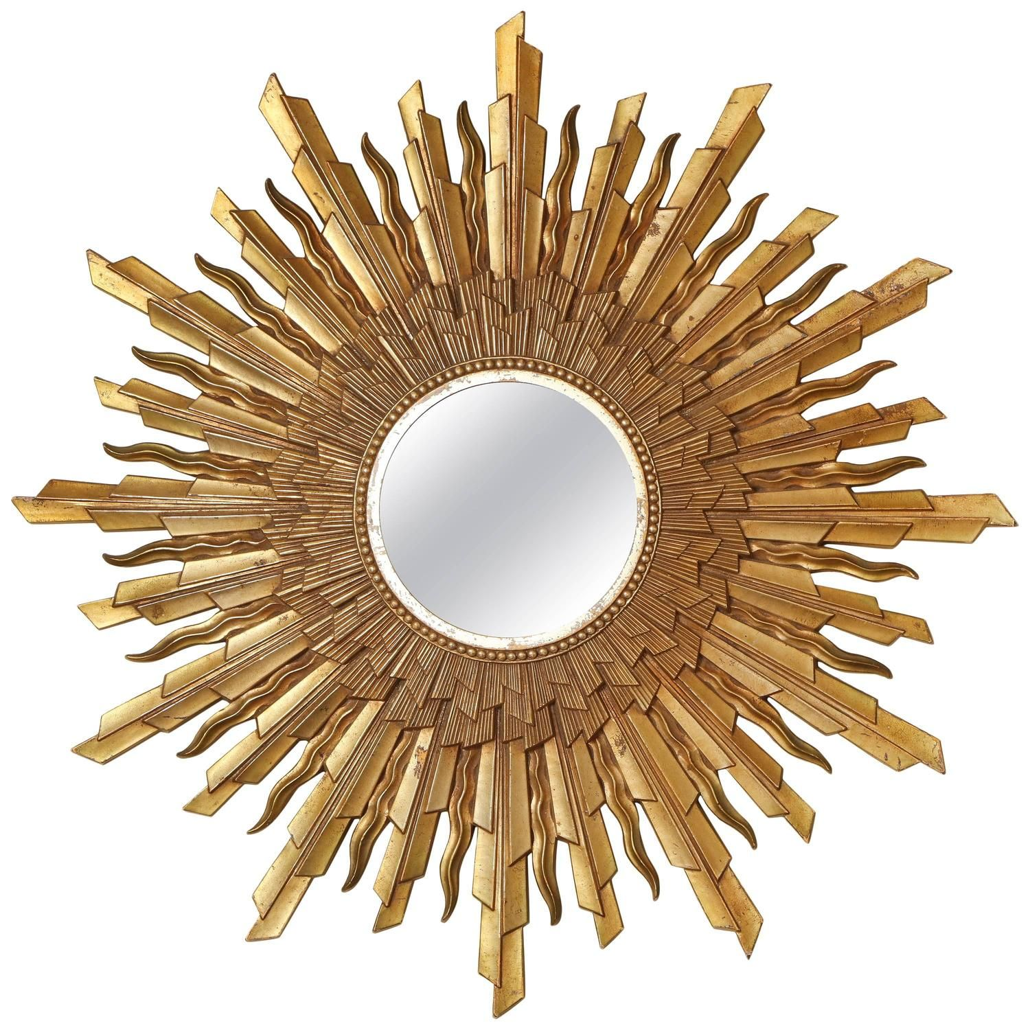 Mid-Century Modern Gold Starburst, Sunburst Framed Mirror | From a unique collection of antique and modern sunburst mirrors at https://www.1stdibs.com/furniture/mirrors/sunburst-mirrors/