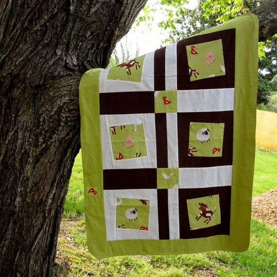 Baby Blanket Farm Animals by TwiggyandOpal on Etsy, $39.00