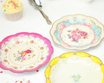 Vintage Look Paper Plates Floral Shabby Chic party Elegant Birthday Tea Party plate  sc 1 st  Pinterest & Vintage Look Paper Plates Floral Shabby Chic party Elegant ...