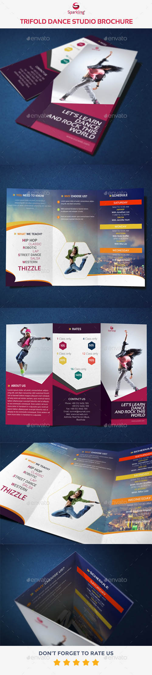 Trifold Dance Studio Brochure   Dance Studio Brochures