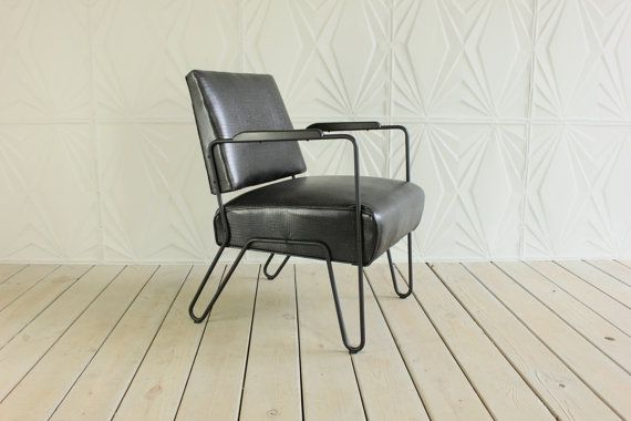 Metal Hairpin Leg Arm Chair By E.W. Harting New By RetroSpecList