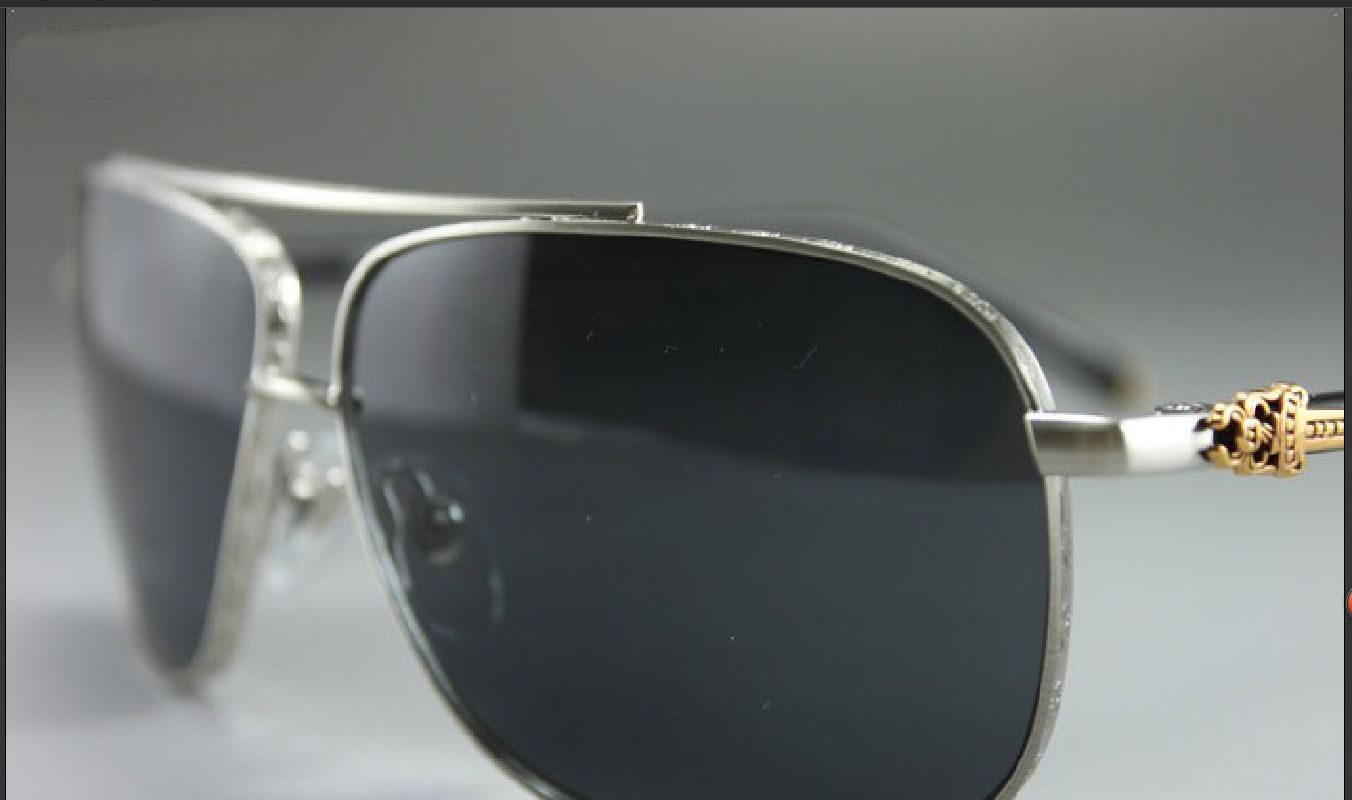 4ec192c5f128 CHROME HEARTS - CROSS BAR AVIATOR  PORK SWORD  SHINY SILVER SUNGLASSES