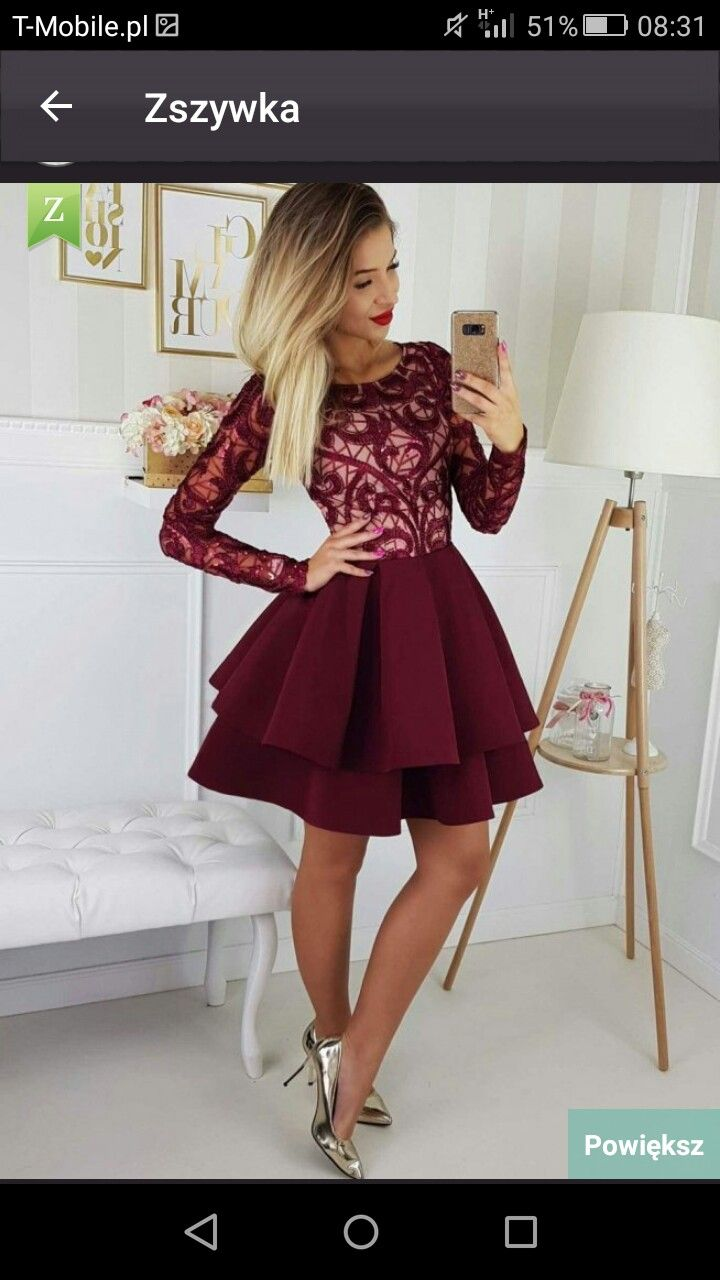 Odkupie Uzywana Rozmiar Xs Lub S Long Sleeve Homecoming Dresses Dresses For Teens Dance Burgundy Homecoming Dresses [ 1280 x 720 Pixel ]