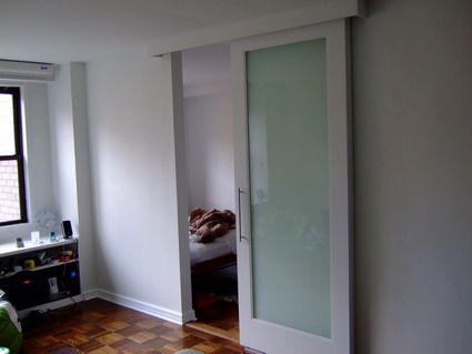 Frosted Glass Door For Bathroom Door To Let Light In.