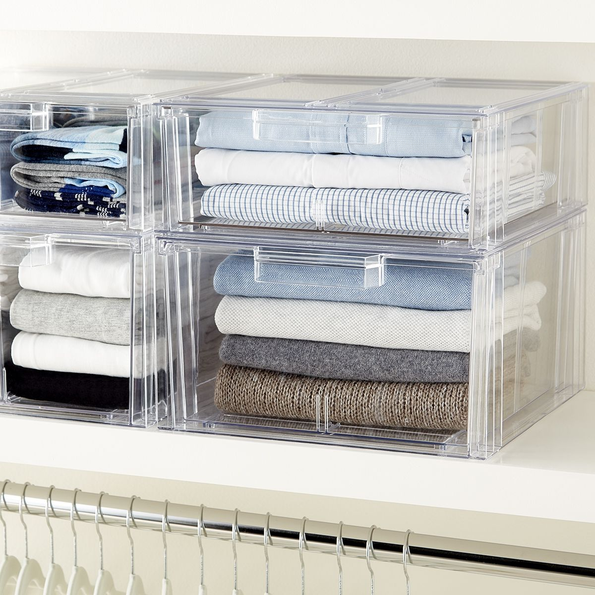 Our Clear Stackable Sweater Drawer Provides Visible Accessibility For Closet Organization Si Closet Shelf Organization Closet Organization Diy Storage Drawers