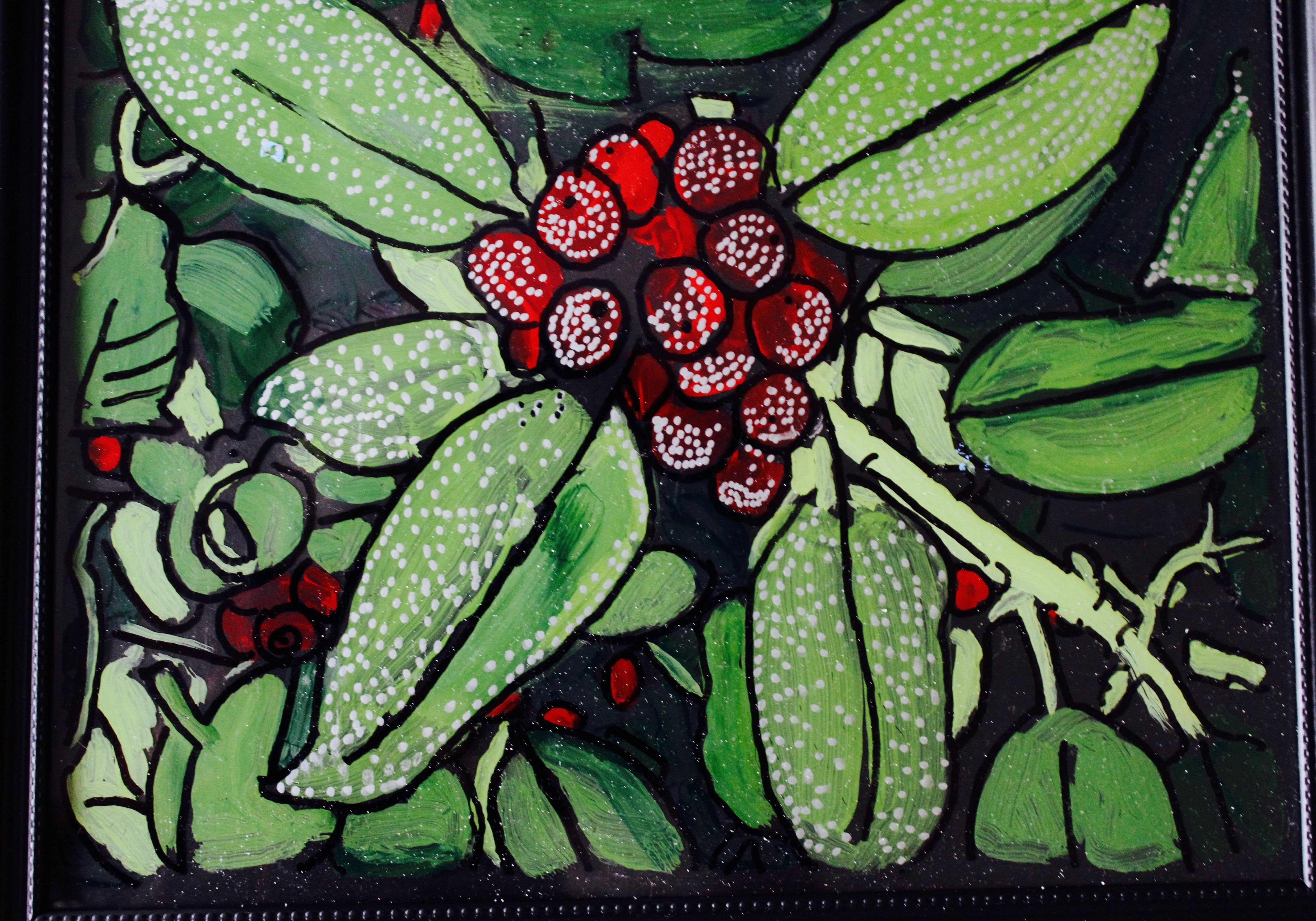 Backward glass painting