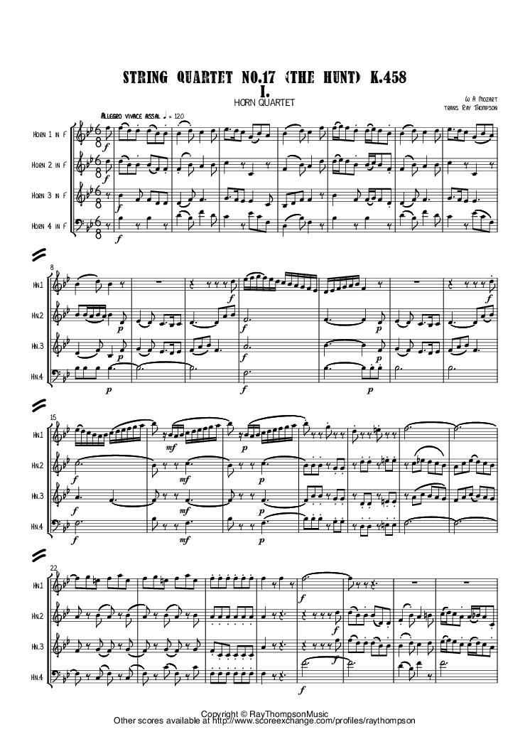 Mozart the hunt string quartet no17 k458 in bb mvt i arr sheet music fandeluxe Gallery