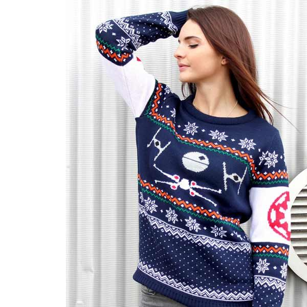 Tie Fighter Vs X-Wing Christmas Jumper / Sweater photo La femme
