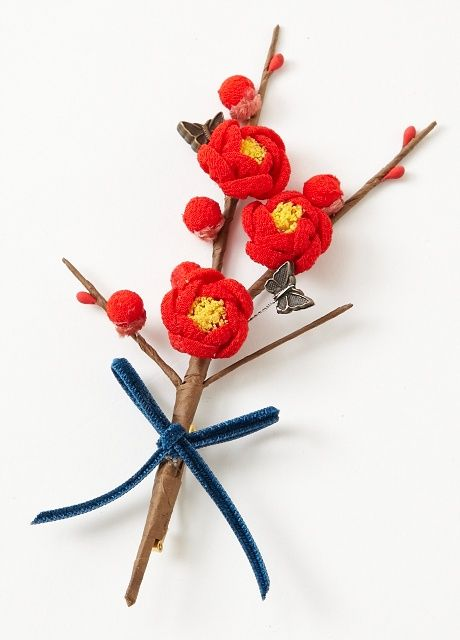 Japanese plum brooch 小梅ブローチ